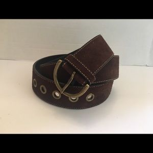 Women's Coach Brown Suede Belt with Topstitching.